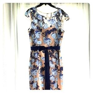 ADRIANNA PAPELL Blue Embroidered Floral Gown 14